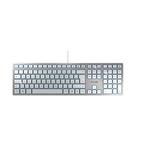 CHERRY KC 6000 Slim - USB Keyboard - Ultraflaches Design - Kabelgebunden - Deutsches Layout - QWERTZ Tastatur - Silber