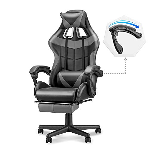 Soontrans Ergonomic Gaming Chair,High Back Computer Gaming Chair,Swivel Recliner Chair with Height and Backrest Recline Adjustable,Full Armrest,Headrest and Lumbar Pillow Support (Grey)