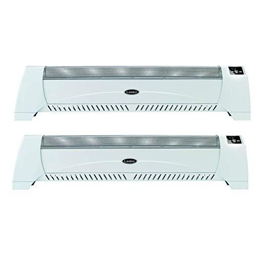 Lasko Silent 1500 Watt 40 Inch Low Profile Convection Floor Room Heater (2 Pack)