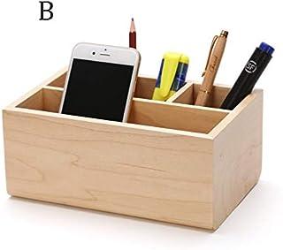 Pen Holder - Wooden Multi-Function Pen Holder, 4 Solid Wood Rectangular Pen Holder, Office Personality High-Grade Pen Holder Decoration (Color : B)