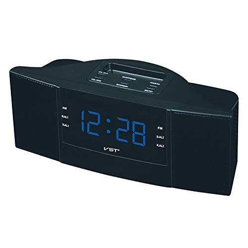 Digital Alarm Clock Comodino Radiosveglia, Schermo Controlled LED Wireless con funzioni Radio AM e FM, Facile da Usare (Color : Blue)