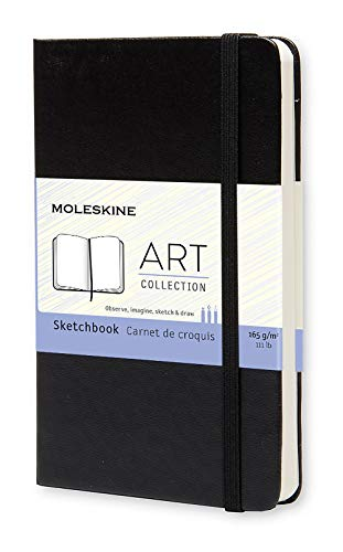 Moleskine Art Sketchbook, Hard Cover, Pocket (3.5' x 5.5') Plain/Blank, Black, 80 Pages