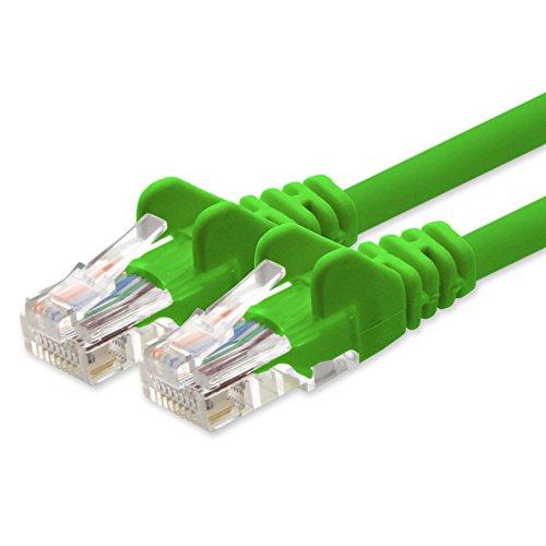 1Attack. de Cat 5e Patch Cable Cable de Red U/UTP Compatible con Cat.5E Cat.5Cat.6para Router módem Patch Pannel Internet Smart TV Xbox Verde - 1 Unidad 1 m