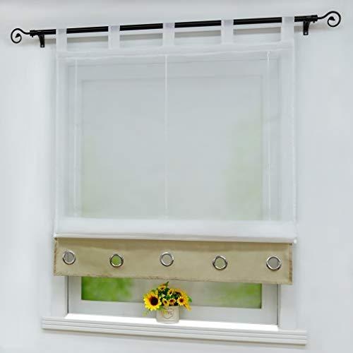 Joyswahl Voile Raffrollo mit Blende in Seidenoptik mit Zierösen Transparenter Raffgardine mit Schlaufen »Edith« Schals Fenster Vorhänge BxH 140x155cm Sand 1 Stück