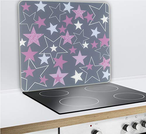 Wenko Multi-Platte Sterne Rosa für Glaskeramik Kochfelder, Schneidbrett, Gehärtetes Glas, 56 x 50 x 0.5 cm
