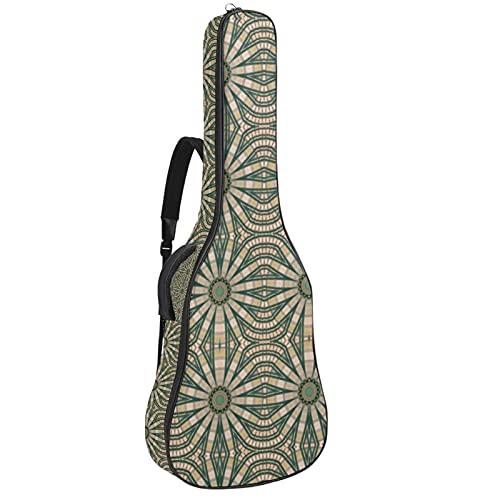 Paquete de guitarra acústica para principiantes, tamaño completo, con tapa de abeto, diseño de bolsa de guitarra acústica colorida textura geométrica 42,8 x 42,8 x 11,9 cm