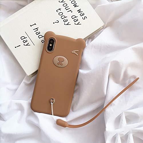 HUAI Funda para iPhone SE 2020 11 Pro Max Bear para iPhone 7 8 Plus silicona suave carcasa para iPhone X XS MAX XR con funda de protección de cuerda de mano (nido : funda+correa, color: marrón)