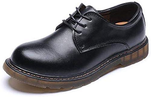 2018 Herrenschuhe Smooth Echtes Leder Outsole Low Top Ankle Stiefel für Herren (Farbe   Schwarz Größe   36 EU) (Farbe   Schwarz Größe   44 EU)