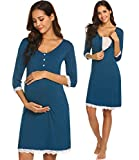 Ekouaer Women's Maternity Nursing Sleepwear Henley Dress Nursing Soft Loungewear (Teal L)