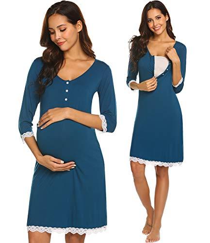 Ekouaer Maternity Women's Nursing Lace Trim Nursing Gown For Breastfeeding (Teal M)