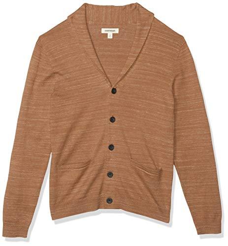 Amazon Brand - Goodthreads Men's Soft Cotton Cardigan Summer Sweater, Tan, Small