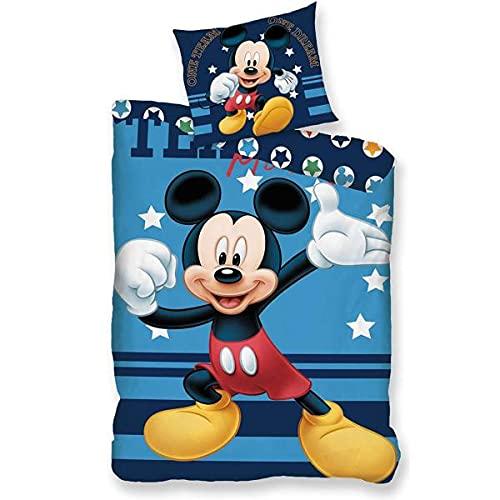 Disney – Funda nórdica Mickey Star, azul reversible para niño, 140 x 200 cm, 1 persona, 100% algodón