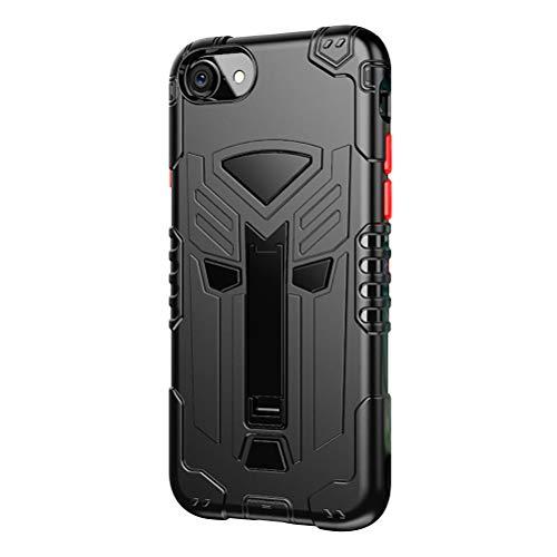 Compatible con iPhone 7, carcasa ultradelgada, robusta, carcasa de doble capa de gel de sílice + carcasa rígida de policarbonato con función atril, antideslizante, antigolpes Negro Talla única