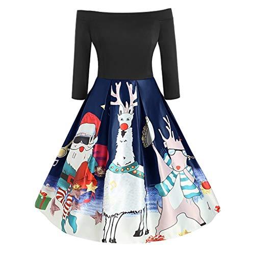 Weihnachtskleid Damen, ZHANSANFM Frauen Schulterfrei Patchwork Abendkleid Geschenk Vintage Christmas Print Steampunk Gothic Langarm Cocktailkleid Party Swing Kleid Festival (4XL, Marine)