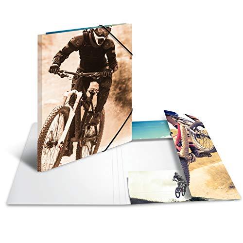 HERMA 19234 Sammelmappe DIN A3 Impressions Mountainbike, stabile Pappe, Ordnungsmappe mit farbig bedruckten Innenklappen und Gummizug, Zeichenmappe für Kinder, Mädchen und Jungen