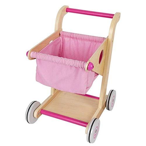 LEIXNDPLBO Mini Kinderen Handkar Kleine supermarkt Winkelwagen Boodschappenwagentje Fantasiespeelgoed Houten kinderwagens Cadeau voor kinderen, Roze