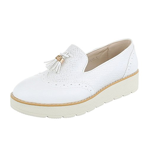 Ital-Design Slipper Damen-Schuhe Low-Top Moderne Halbschuhe Weiß, Gr 38, 62018-