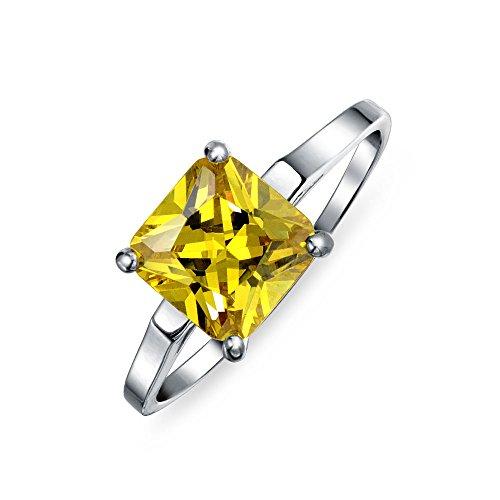 5Ct Cuadrado Amarillo Canario Princess Cut AAA CZ Solitario Anillo De Compromiso Banda Plata Esterlina 925 Para Mujer