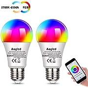 Bombilla Inteligente LED WiFi Aogled E27 9W Regulable,Alexa bombillas LED RGBCW Mood con control remoto, funciona con Amazon y Google Home, no requiere concentrador, paquete de 2