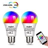 Bombilla Inteligente LED WiFi,Aogled E27 LED 9W Regulable,Alexa Bombillas LED RGBCW Mood con control remoto, funciona con Alexa y Google Home, no requiere concentrador, paquete de 2
