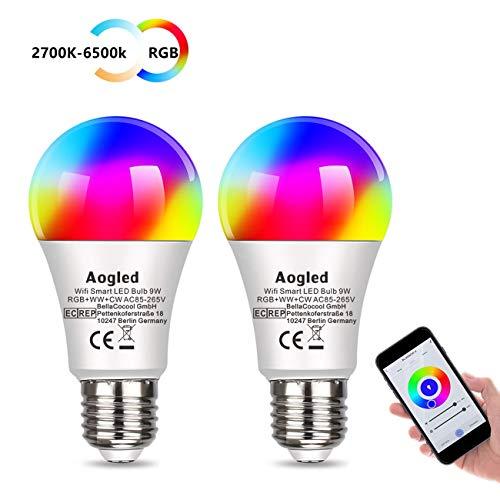 Lampadina LED E27 Intelligente,Aogled Smart Alexa E27 9W 240V,Equivalente Lampada Alogena 60W, Multicolore Dimmerabile Funziona Con Alexa,Google Home,2.4GHz Wi-Fi E27 LED 2700K-6500K,2 Pcs