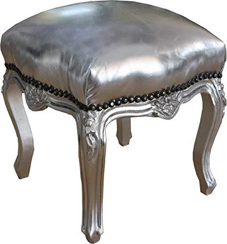 Casa Padrino Barock Sitzhocker Silber/Silber Höhe 40 cm, Breite 35 cm - Barock Möbel