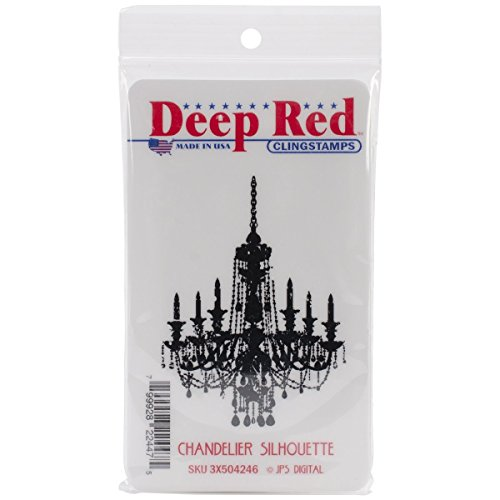 Deep Red Stamps Chandelier Silhouette Rubber Stamp