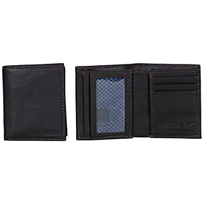 Ben Sherman Hendon Full-Grain Leather Anti-Theft RFID Bi-Fold Wallet with SD Card Slots & Hidden Coin Pocket, Brown