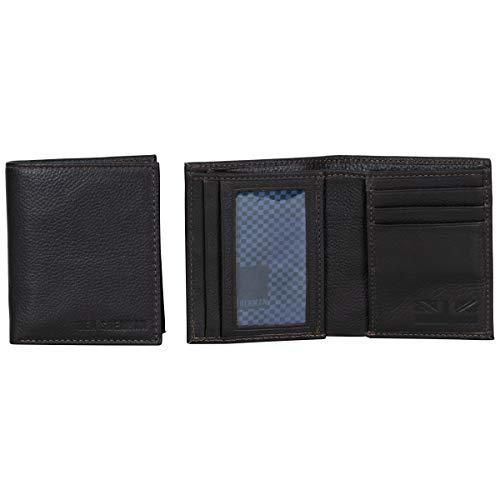 Ben Sherman Hendon Full-Grain Leather Anti-Theft RFID Bi-Fold Wallet with SD Card Slots & Hidden Coin Pocket, Brown