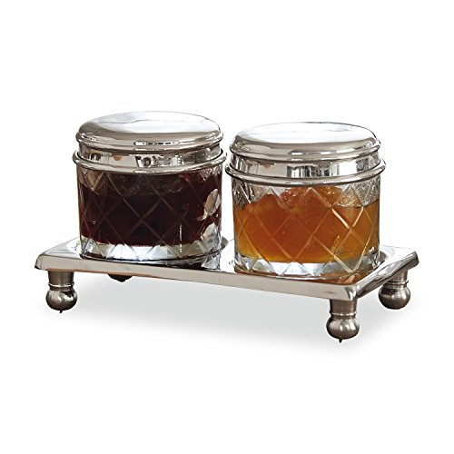 Loberon Dosen 2er Set Aiton, Glas/Messing, H/B/T ca. 2/12,5/6,5 cm, klar/silber