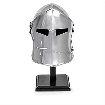 Nagina International Medieval Barbuta Visored Brushed Steel Knights Armory Templar Crusader s Helmet On Black Wooden Base | Props & Costumes Helm for Larpers