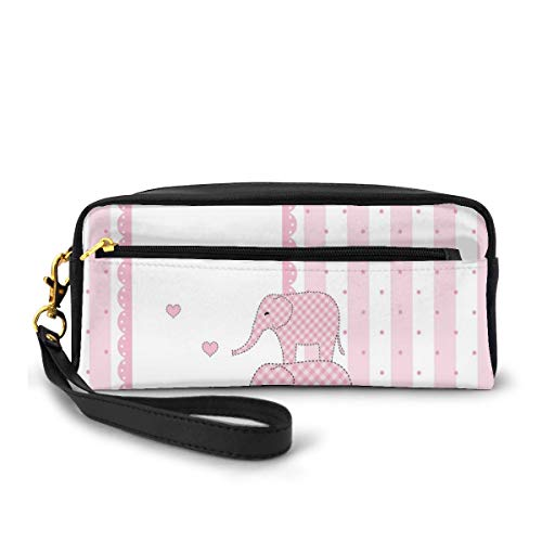 Pencil Case Pen Bag Pouch Stationary,Vertical Striped Backdrop Cute Pink Animals with Hearts Retro,Small Makeup Bag Coin Purse
