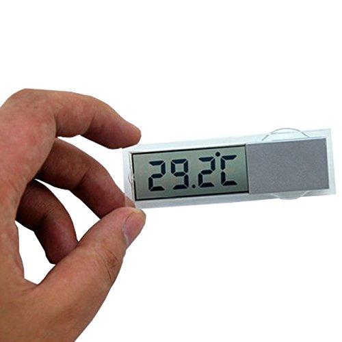 【最薄部 わずか4ミリの 超小型 設計: 車内温度計】 デジタル 表示 電池 式 クリアデザイン キッチンやリビングでも!!