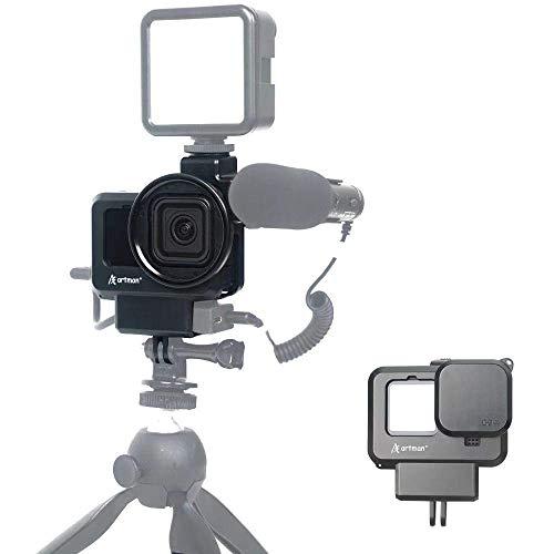 Artman Hero 9 Vlogging Case für GoPro Hero 9 Black, 2 Kaltschuhhalterung Mikrofon & Lichtständergehäuse Kompatibel mit Stativ Selfie Stick Einbeinstativ