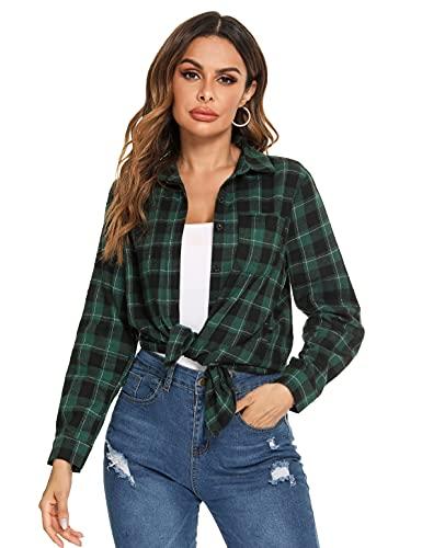 Irevial Cotone Donna Camicia a Quadri Elegante Blusa Manica Lunga Camicetta Allentata T-Shirt con Button, Nero+Verde, L