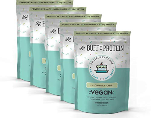 Lil Buff Protein, High Protein Cake Mix, Natural, Gluten Free, Vegan, Soy Free, Peanut Free, Lactose Free (Un-Chunky Chip, 5 Pack)