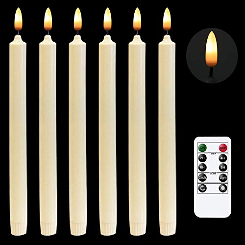 Window Candles Flameless LED Taper Candles,Battery Powered Ivory Taper Candles with Remote.10 Inch,Pack of 6, Thanksgiving Home Wedding Christmas Decor