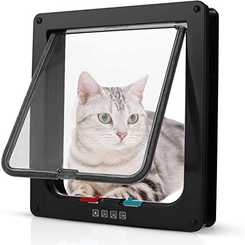 ZUOLUO Gatera Puerta Gatos Inteligente Cat Flap Pequeño Gato Solapa Perro Aleta de Puerta Gato Puerta de la Puerta Puerta para Mascotas Black,l