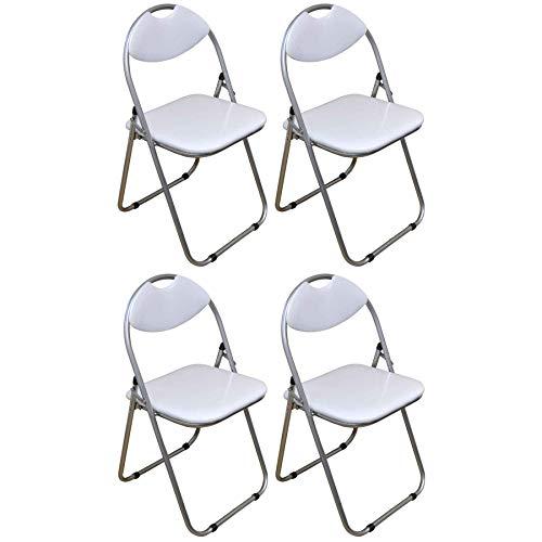 Klappstuhl - gepolstert - Weiß - 4 Stück