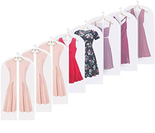 Linseray 8 Stücke Kleidersack, kleiderhülle Abdeckungen Kleidersäcke, Anti-Motten-Schutz, faltbar waschbar für langes Kleid Tanzkostüme Business Anzüge Kleider Mäntel(100 x 60 cm)