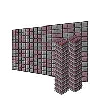 新しい48ピース 200 x 200 x 50 mm 半球グリッド 吸音材 防音 吸音材質ポリウレタン SD1040 (ブルゴーニュとグレー)