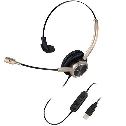 MAIRDI USB Telephone Headset with Microphone Over-The-Head, Computer Headphone w/Volume Control for Office Business Call, PC Headset w/Noise Cancelling Mic for Voice Recognition Speech Dictating