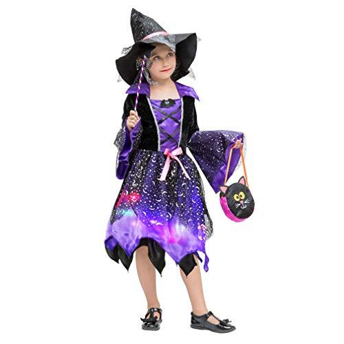 Gift Tower 4er Hexenkostüm Mädchen LED Hexenkleid Kinder Halloween Kostüm für Halloween Karneval Fasching Cosplay Kleid + Hexenhut + Beutel + Zauberstab Violett M/für 4-6 Jahre