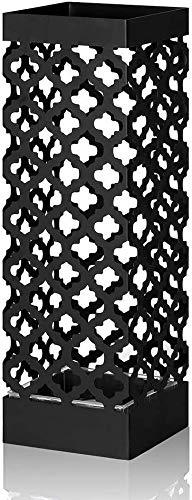 HAITRAL Schirmständer, mit Haken und Chassis, praktischer, strudy Metallhalterständer für Langen und kurzen Schirm, Gehstock und Stock, Büro, Wohnzimmerdekoration Kollokation, schwarz