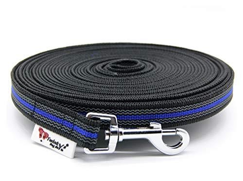 Twinkys Dog Style Made IN Germany Schleppleine Hundeleine gummiert 20 mm breit für Hunde bis 50 kg - MIT Handschlaufe 5 Meter Schwarz Blau