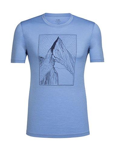 Icebreaker Tech Lite SS Crewe at My Peak T-Shirt Homme Chalk Blue FR : XL (Taille Fabricant : XL)