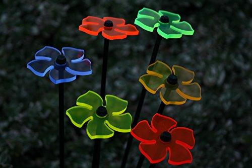 6er Set Ø5cm Leuchtblumen Nr.2 Sonnenfänger Gartenstecker