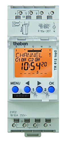 Lumenite TR-612-TOP-2-120V Theben AC 7 Day/24 Hours Din Mounting 2 Channel Digital Time Switch, 56 Memory Locations