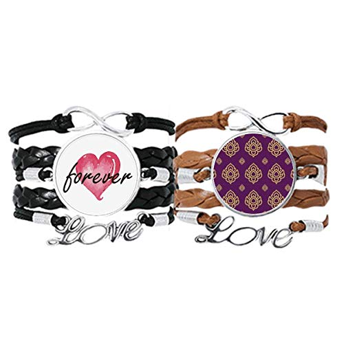 Bestchong Kingdom Golden Purple Art Illustration Pulsera de mano correa de cuero cuerda Forever Love Wristband Set doble