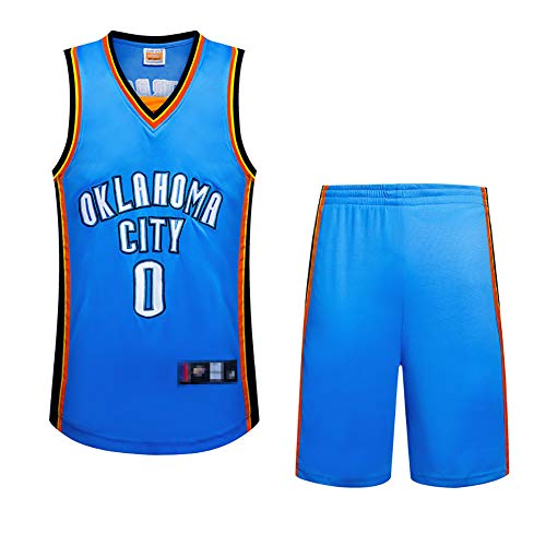 Basketballuniform für Kinder, Westbrook-Trikot, Thunder-Shirt + Shorts, atmungsaktives ärmelloses Sweatshirt, hochwertiger Stoff-blue-2XL